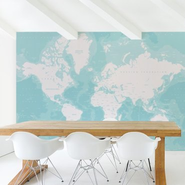 Oceans worldmap on wallpaper
