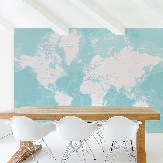 Oceans worldmap on wallpaper
