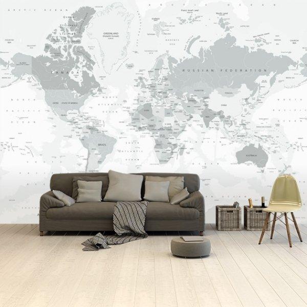 Greytones worldmap on wallpaper