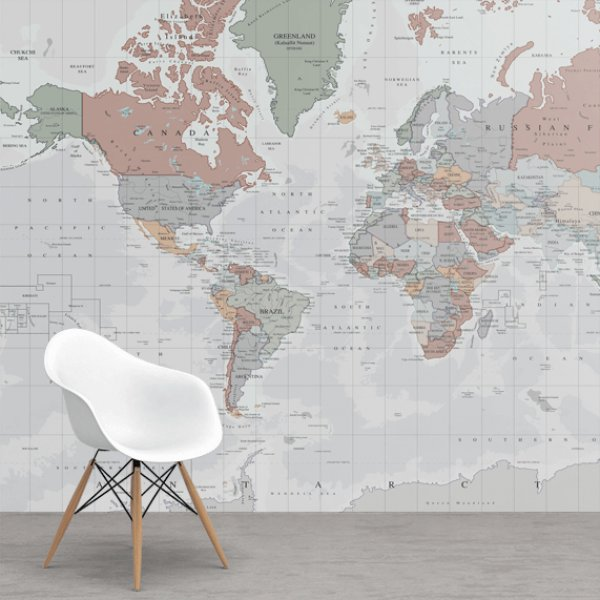 Soft tones worldmap on wallpaper